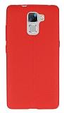 Huawei Honor 7 Deri Desenli Ultra İnce Kırmızı Silikon Kılıf