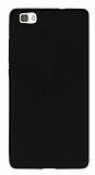 Huawei P8 Lite Deri Desenli Ultra İnce Siyah Silikon Kılıf