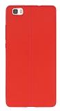 Huawei P8 Lite Deri Desenli Ultra İnce Kırmızı Silikon Kılıf