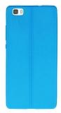 Huawei P8 Lite Deri Desenli Ultra İnce Mavi Silikon Kılıf