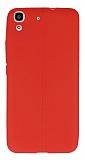 Huawei Y6 Deri Desenli Ultra İnce Kırmızı Silikon Kılıf
