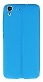 Huawei Y6 Deri Desenli Ultra İnce Mavi Silikon Kılıf