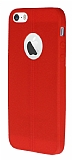 Eiroo Seams iPhone 5 / 5S Deri Desenli Ultra �nce K�rm�z� Silikon K�l�f