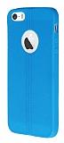 Eiroo Seams iPhone 5 / 5S Deri Desenli Ultra �nce Mavi Silikon K�l�f
