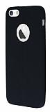 iPhone SE / 5 / 5S Deri Desenli Ultra İnce Siyah Silikon Kılıf