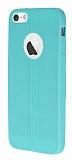 Eiroo Seams iPhone 5 / 5S Deri Desenli Ultra �nce Su Ye�ili Silikon K�l�f