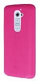 Eiroo Seams LG G2 Deri Desenli Ultra �nce Pembe Silikon K�l�f