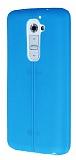 Eiroo Seams LG G2 Deri Desenli Ultra �nce Mavi Silikon K�l�f