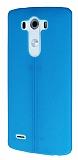 LG G3 Deri Desenli Ultra İnce Mavi Silikon Kılıf