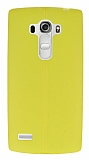 LG G4 Beat Deri Desenli Ultra İnce Sarı Silikon Kılıf