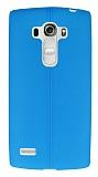 LG G4 Beat Deri Desenli Ultra İnce Mavi Silikon Kılıf
