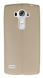 LG G4 Beat Deri Desenli Ultra İnce Krem Silikon Kılıf