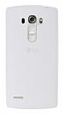 LG G4 Beat Deri Desenli Ultra İnce Şeffaf Beyaz Silikon Kılıf