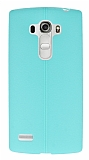 LG G4 Beat Deri Desenli Ultra İnce Su Yeşili Silikon Kılıf