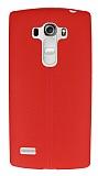 LG G4 Beat Deri Desenli Ultra İnce Kırmızı Silikon Kılıf