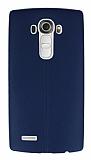 LG G4 Deri Desenli Ultra İnce Lacivert Silikon Kılıf