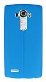 LG G4 Deri Desenli Ultra İnce Mavi Silikon Kılıf