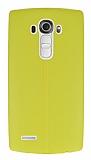 LG G4 Deri Desenli Ultra İnce Sarı Silikon Kılıf