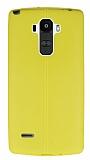LG G4 Stylus Deri Desenli Ultra İnce Sarı Silikon Kılıf