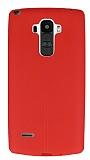 LG G4 Stylus Deri Desenli Ultra İnce Kırmızı Silikon Kılıf