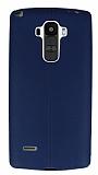 LG G4 Stylus Deri Desenli Ultra İnce Lacivert Silikon Kılıf