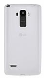 LG G4 Stylus Deri Desenli Ultra İnce Şeffaf Beyaz Silikon Kılıf