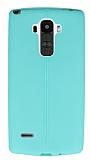 LG G4 Stylus Deri Desenli Ultra İnce Su Yeşili Silikon Kılıf