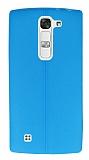 LG G4c Deri Desenli Ultra İnce Mavi Silikon Kılıf
