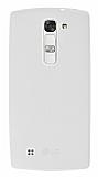LG G4c Deri Desenli Ultra İnce Şeffaf Beyaz Silikon Kılıf