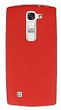 LG G4c Deri Desenli Ultra İnce Kırmızı Silikon Kılıf