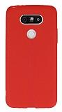 LG G5 Deri Desenli Ultra İnce Kırmızı Silikon Kılıf