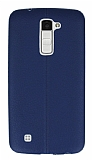 Eiroo Seams LG K10 Deri Desenli Ultra �nce Lacivert Silikon K�l�f