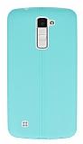 LG K10 Deri Desenli Ultra İnce Yeşil Silikon Kılıf