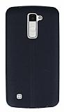 LG K10 Deri Desenli Ultra İnce Siyah Silikon Kılıf