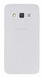 Samsung Galaxy A3 Deri Desenli Ultra İnce Şeffaf Beyaz Silikon Kılıf