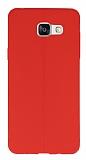 Samsung Galaxy A7 2016 Deri Desenli Ultra İnce Kırmızı Silikon Kılıf