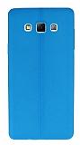 Eiroo Seams Samsung Galaxy A7 Deri Desenli Ultra İnce Mavi Silikon Kılıf