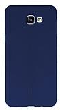 Eiroo Seams Samsung Galaxy A9 Deri Desenli Ultra İnce Lacivert Silikon Kılıf