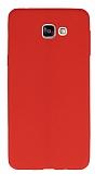 Eiroo Seams Samsung Galaxy A9 Deri Desenli Ultra İnce Kırmızı Silikon Kılıf