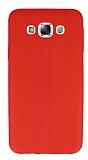 Samsung Galaxy E7 Deri Desenli Ultra İnce Kırmızı Silikon Kılıf
