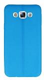 Samsung Galaxy E7 Deri Desenli Ultra İnce Mavi Silikon Kılıf