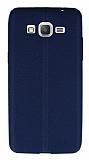 Samsung Galaxy Grand Prime / Prime Plus Deri Desenli Ultra İnce Lacivert Silikon Kılıf