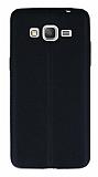 Samsung Galaxy Grand Prime / Prime Plus Deri Desenli Ultra İnce Siyah Silikon Kılıf