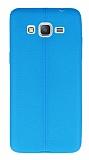 Samsung Galaxy Grand Prime / Prime Plus Deri Desenli Ultra İnce Mavi Silikon Kılıf