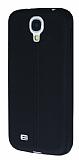 Eiroo Seams Samsung Galaxy i9500 S4 Deri Desenli Ultra �nce Siyah Silikon K�l�f