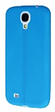 Eiroo Seams Samsung Galaxy i9500 S4 Deri Desenli Ultra �nce Mavi Silikon K�l�f