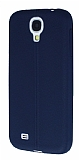 Eiroo Seams Samsung Galaxy i9500 S4 Deri Desenli Ultra �nce Lacivert Silikon K�l�f