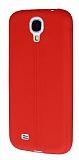 Eiroo Seams Samsung Galaxy i9500 S4 Deri Desenli Ultra �nce K�rm�z� Silikon K�l�f