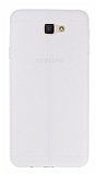 Eiroo Seams Samsung Galaxy J5 Prime Deri Desenli Ultra İnce Şeffaf Beyaz Silikon Kılıf