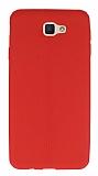 Eiroo Seams Samsung Galaxy J5 Prime Deri Desenli Ultra İnce Kırmızı Silikon Kılıf